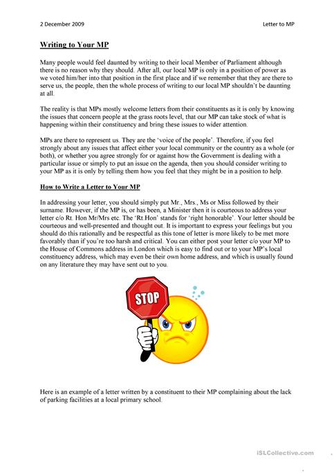 Writing a letter to your mp worksheet free esl printable writing a letter to your mp expocarfo Choice Image