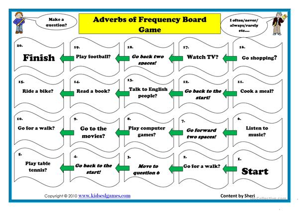 Adverb of frequency board game