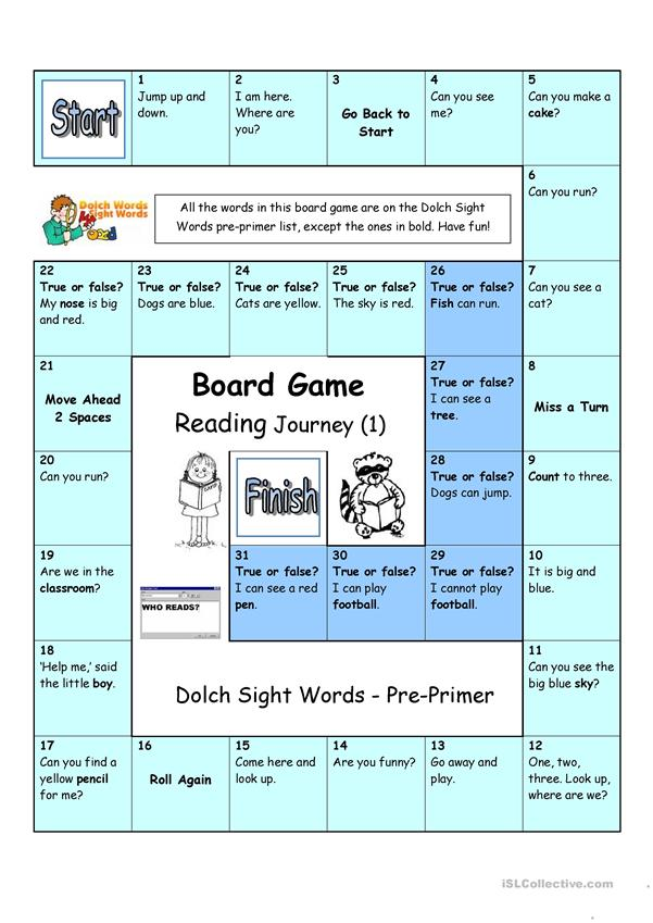 Board Game - Reading Journey (1) - Dolch Sight Words Pre-primer