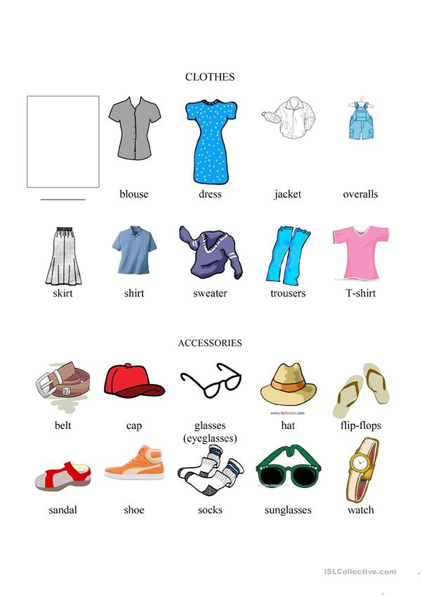 Clothing and accessories chart, illustrated