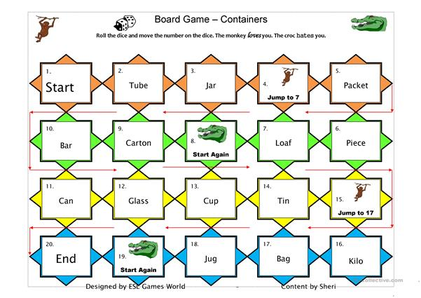 Containers count/uncount boardgame