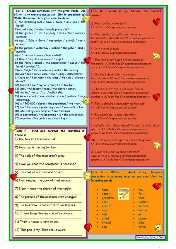Expressing possession ** Revision ** for intermediate ss ** 2 pages ** 9 tasks ** with key ** fully editable