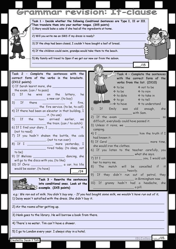 Grammar revision - If-clause *** 4 tasks *** with key *** fully editable *** greyscale version