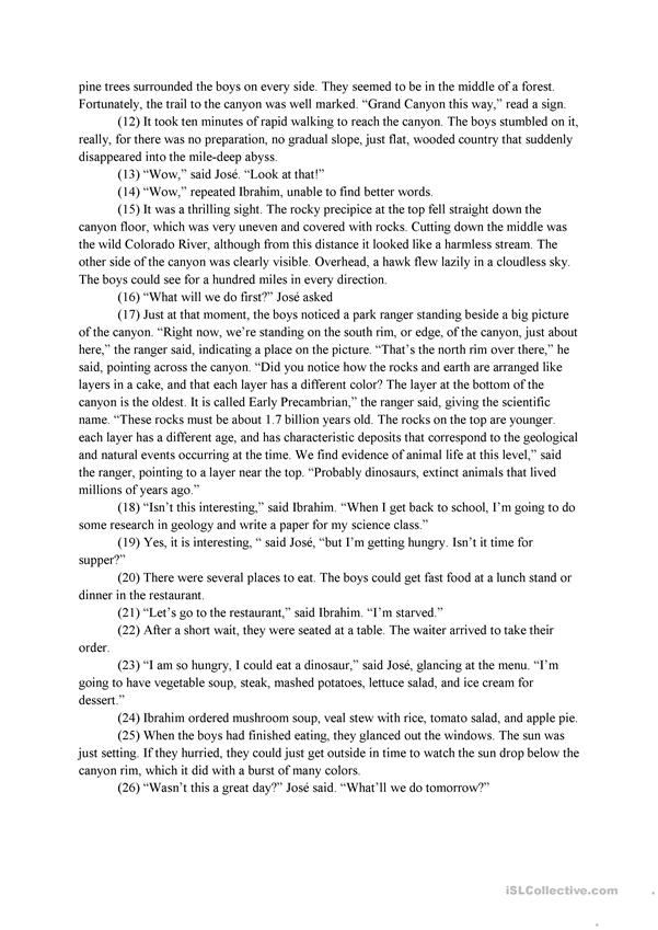 Grand Canyon A Reading Prehension Worksheet Free. Grand Canyon A Reading Prehension Worksheet. Worksheet. Grand Canyon Worksheets At Mspartners.co