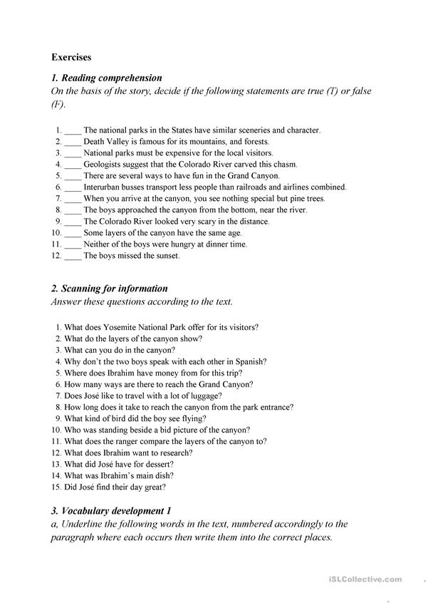 Grand Canyon - a reading comprehension worksheet