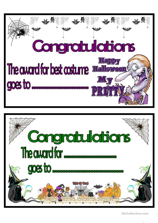Halloween certificates