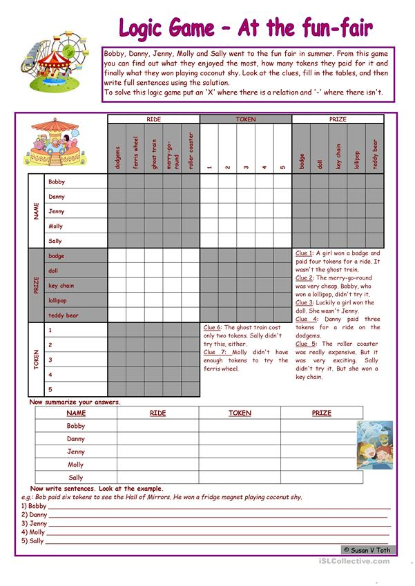 Logic game (27th) - At the fun-fair * upper-elementary * with key * fully editable *** created with WORD 2003