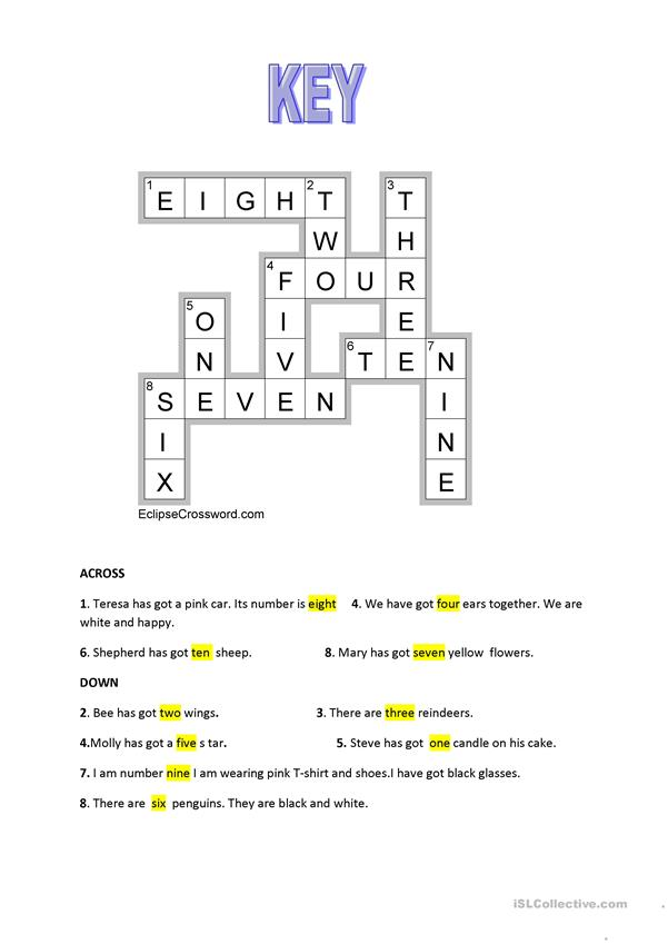 Numbers crossword from 1 to 10 + KEY is included