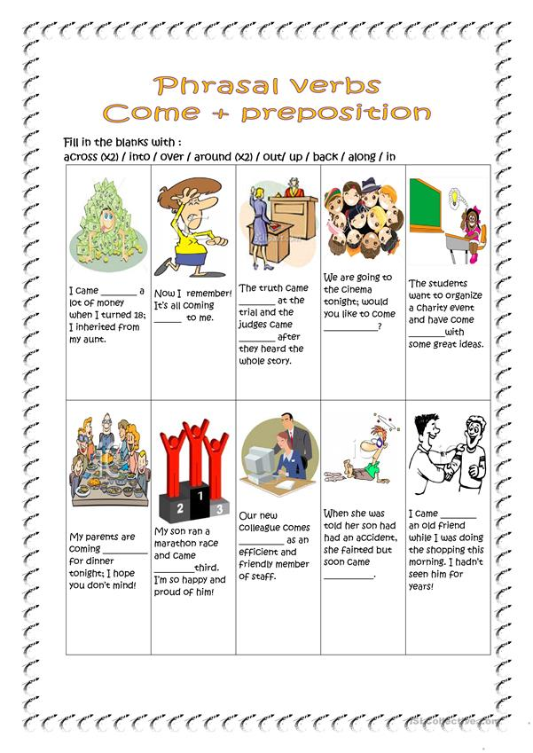 Phrasal verbs - come + preposition.(key included)