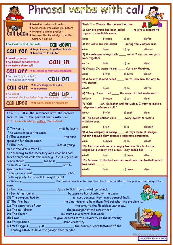 Phrasal verbs with CALL *** with dictionary *** 2 tasks *** with key *** fully editable *** greyscale version