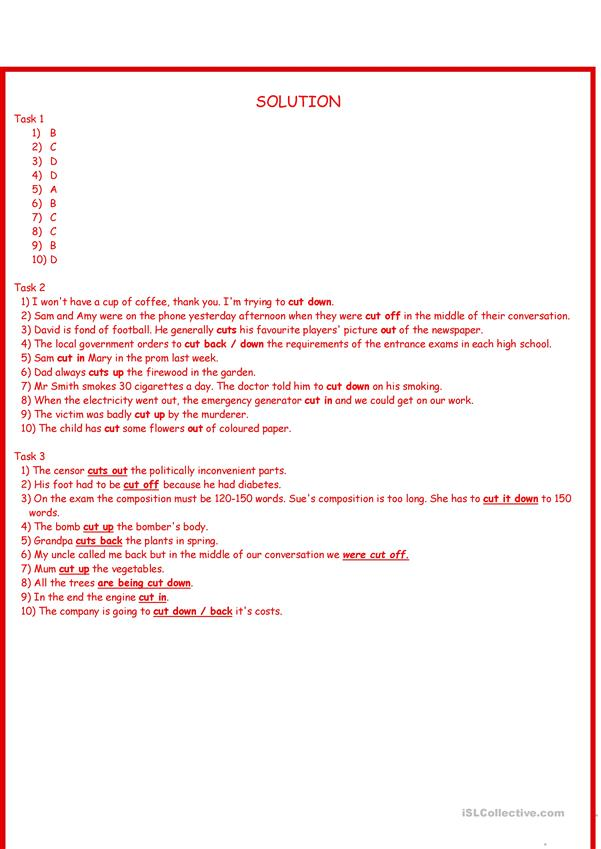 Phrasal verbs with CUT *** with dictionary *** 3 tasks *** with key *** fully editable *** greyscale version