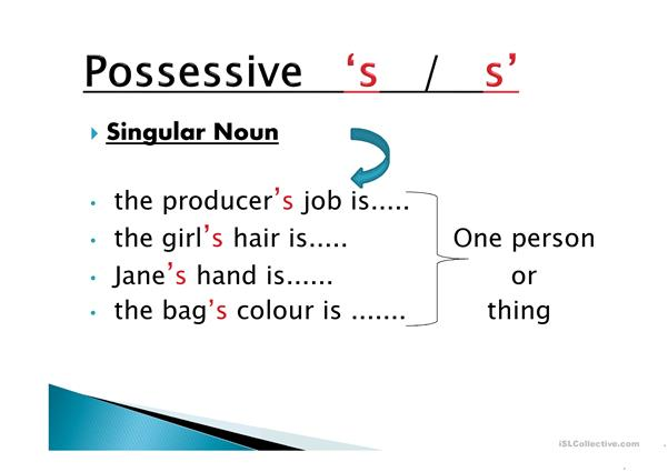 Possessive Pronouns-Apostrophe 's