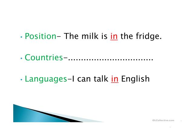 Prepositions 'in / on / at'