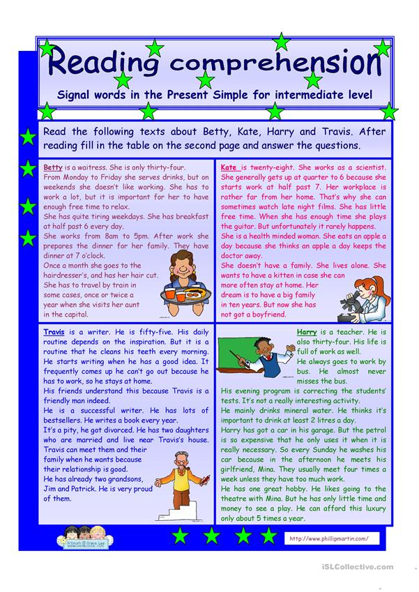 Reading comprehension * signal words in the Present Simple Tense* for intermediate level * 2 pages * 3 tasks * key is included * fully editable