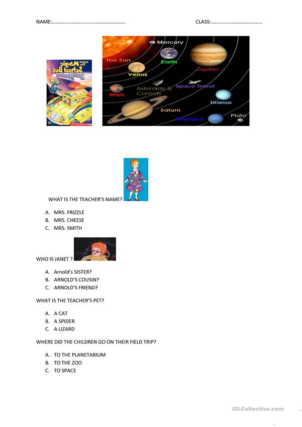 The Magic School Bus Space Adventure Questions