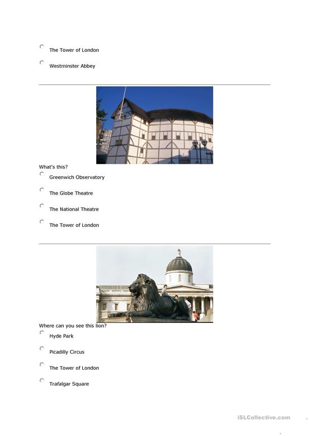 Travelling quiz + London quiz