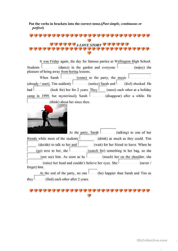 a love story (tenses) - ESL worksheets