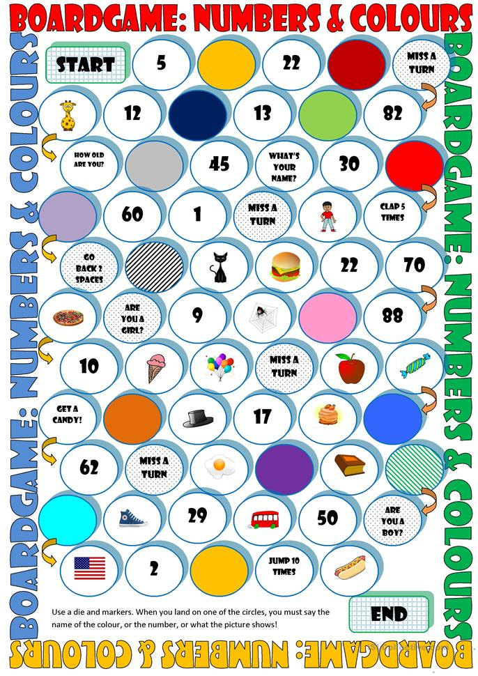 Board Game: Numbers & Colours - ESL worksheets