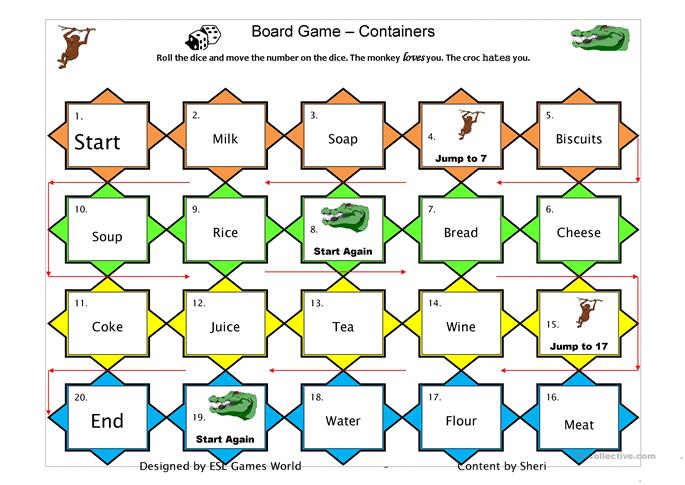 Boardgame count/uncount - ESL worksheets