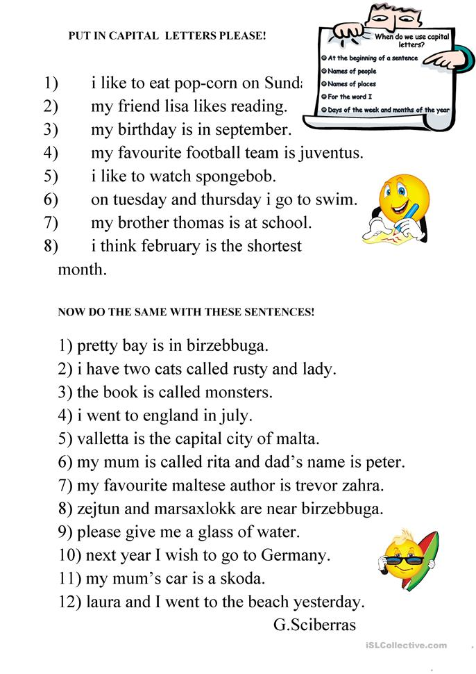 16 FREE ESL capital letters worksheets