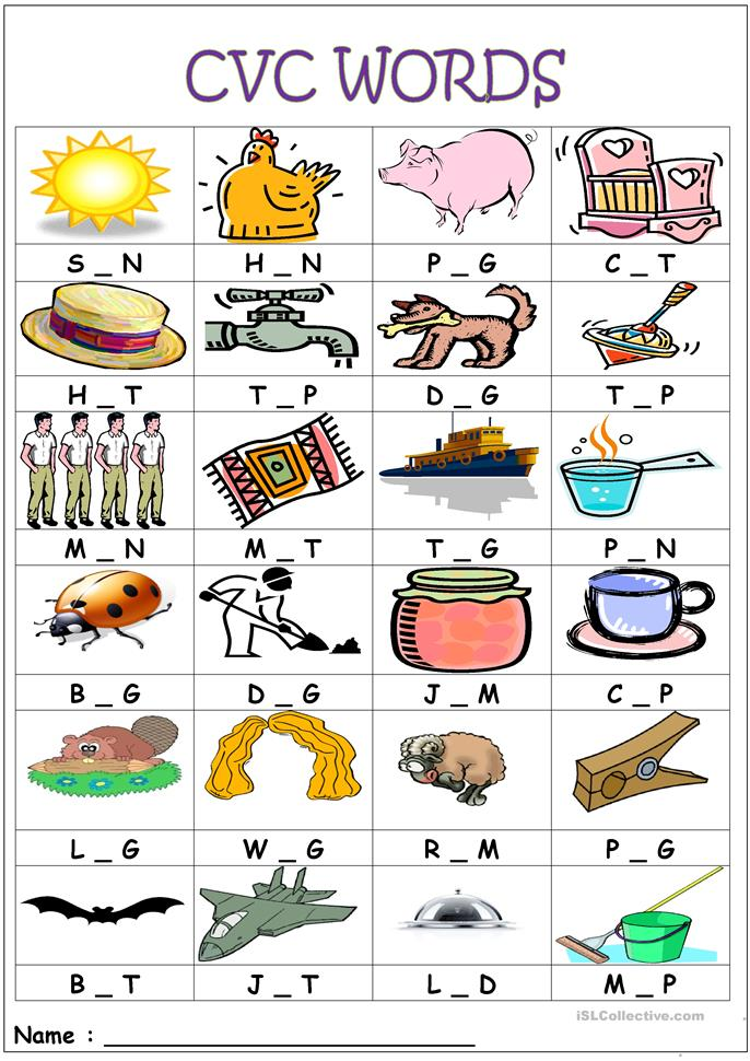 Printables Cvc Words Worksheets 13 free esl cvc words worksheets medial sounds