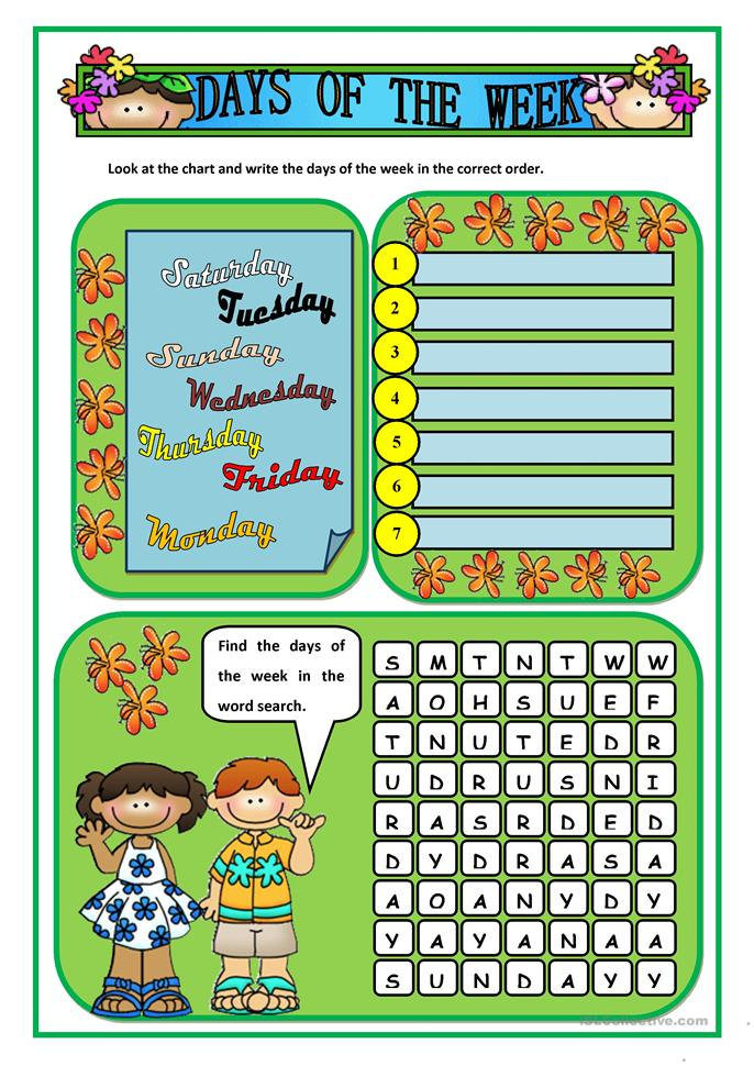 241 FREE ESL Days of the week worksheets