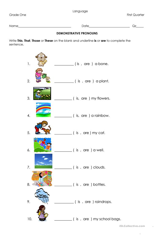 30 FREE ESL demonstrative pronouns worksheets