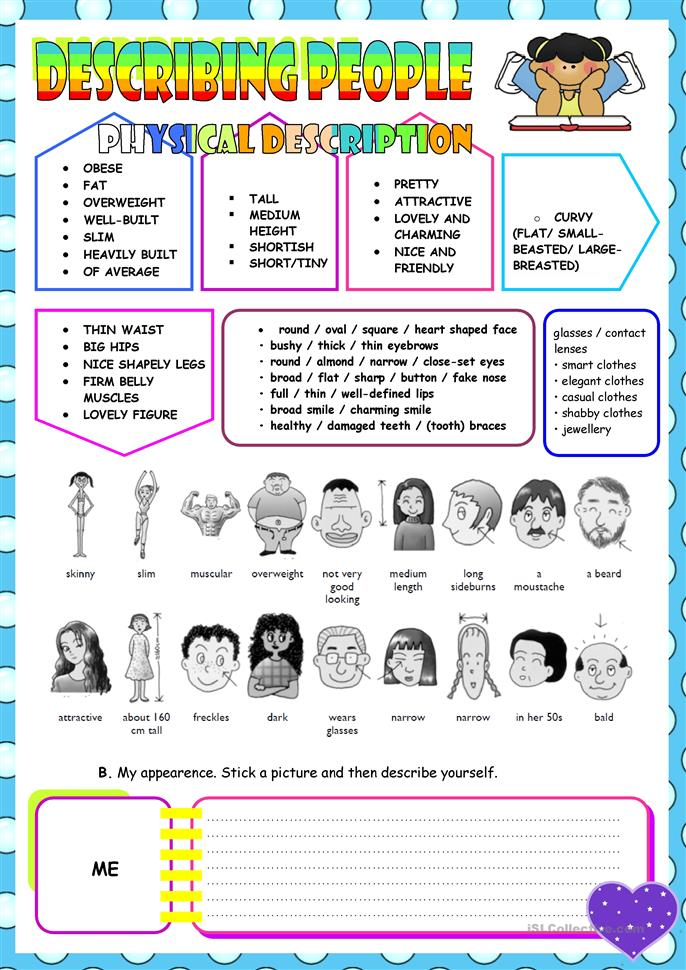 955 FREE ESL Describing people worksheets