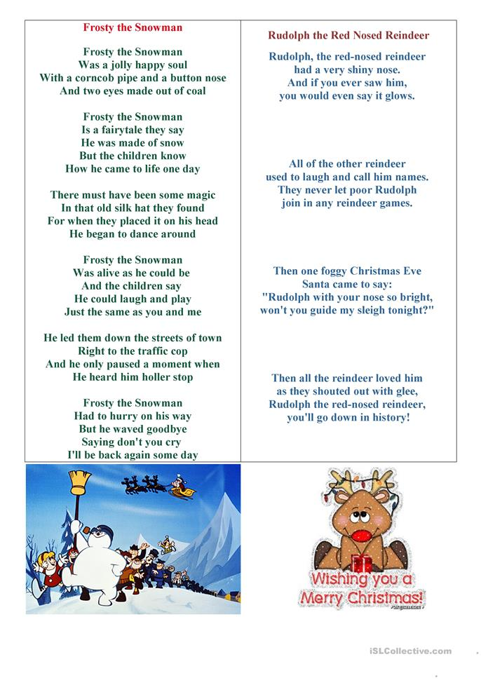 Frosty and Rudolph! - ESL worksheets