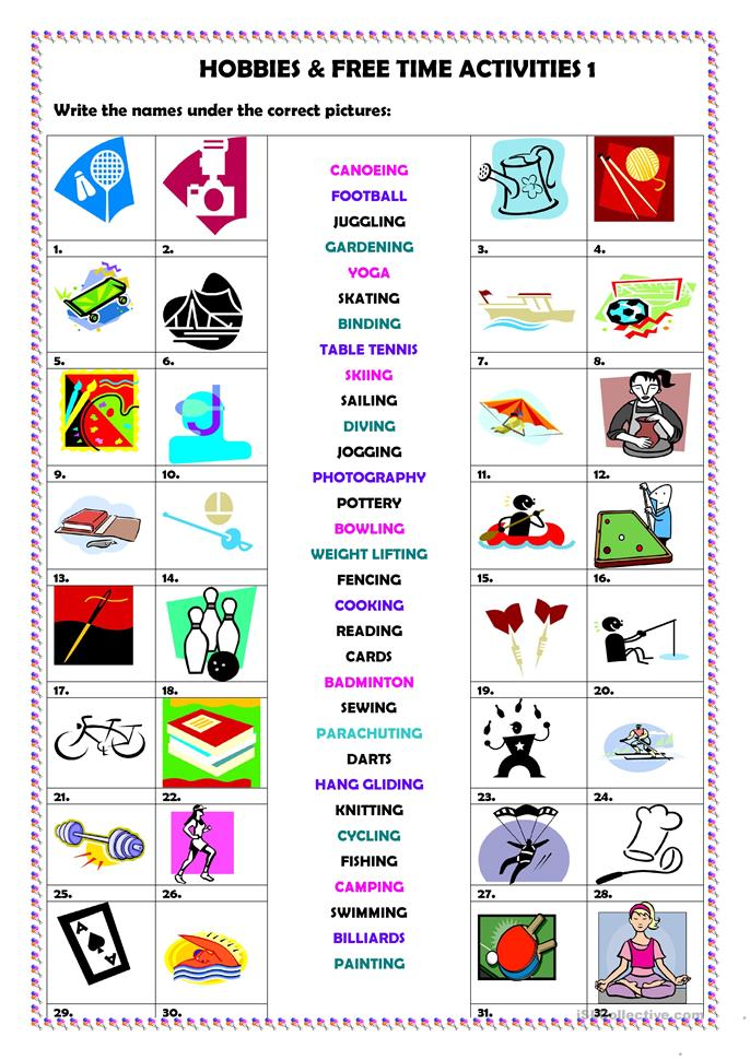 Hobbies & free time activities 1 - ESL worksheets