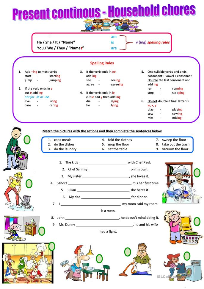 Household chores - present continuous - ESL worksheets