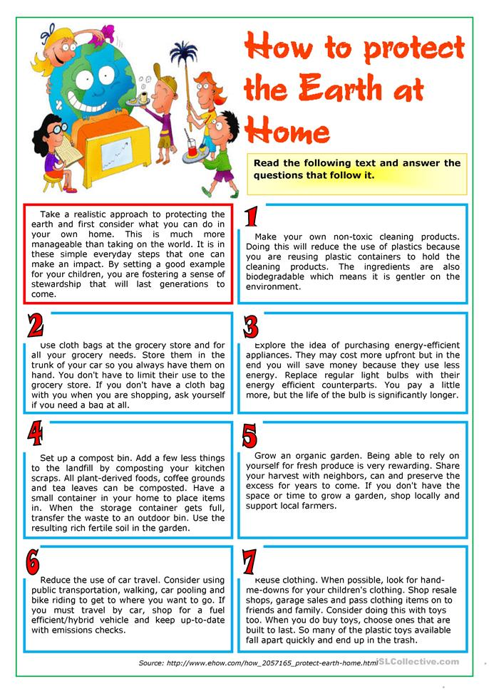 How to protect the Earth at home - ESL worksheets