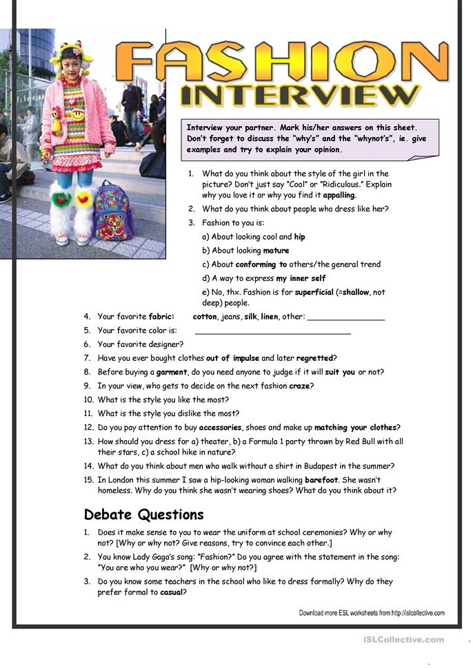 Interview Questions about Fashion (interm.) worksheet - Free ESL ...