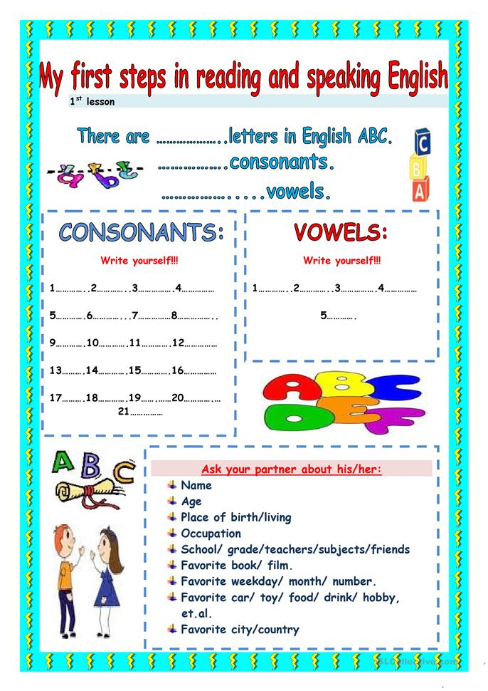 My first steps in reading and speaking - ESL worksheets