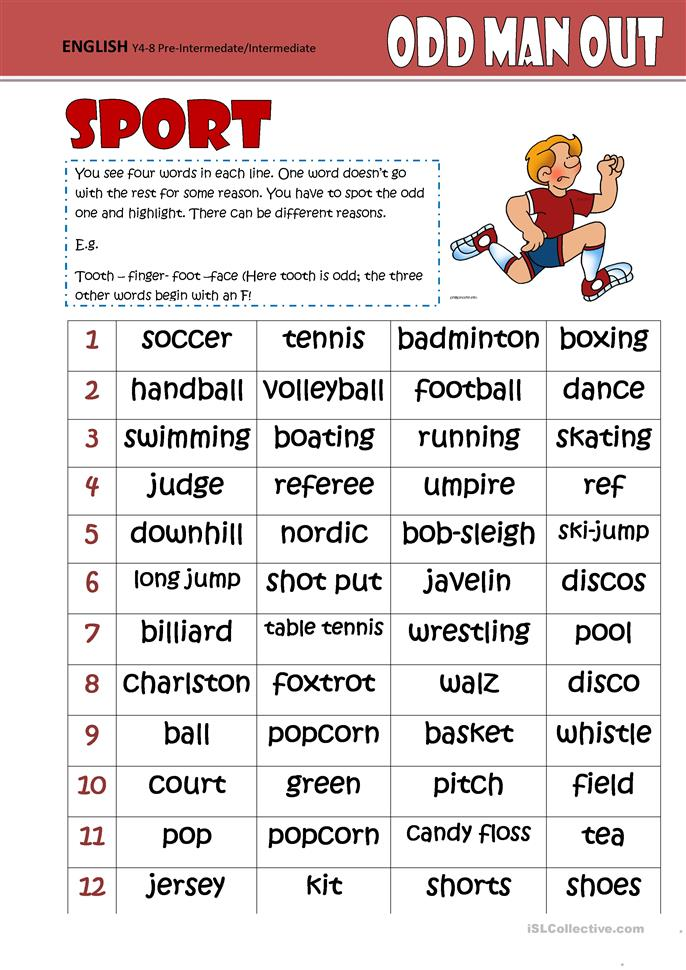 54 FREE ESL odd one out worksheets