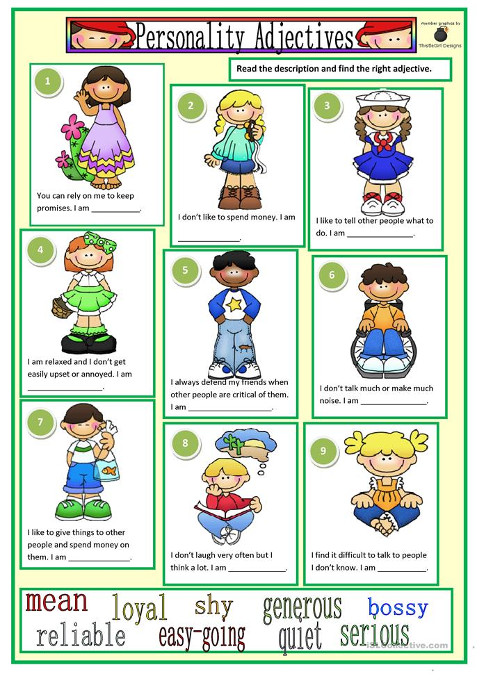 53 FREE ESL personality adjectives worksheets