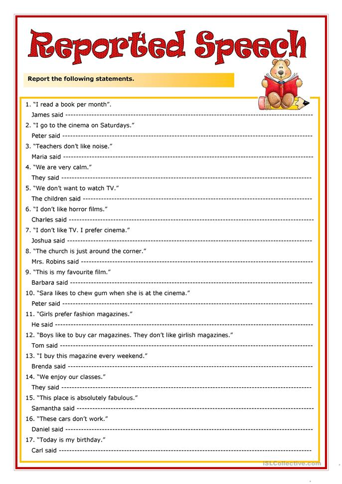 28 FREE ESL indirect speech worksheets