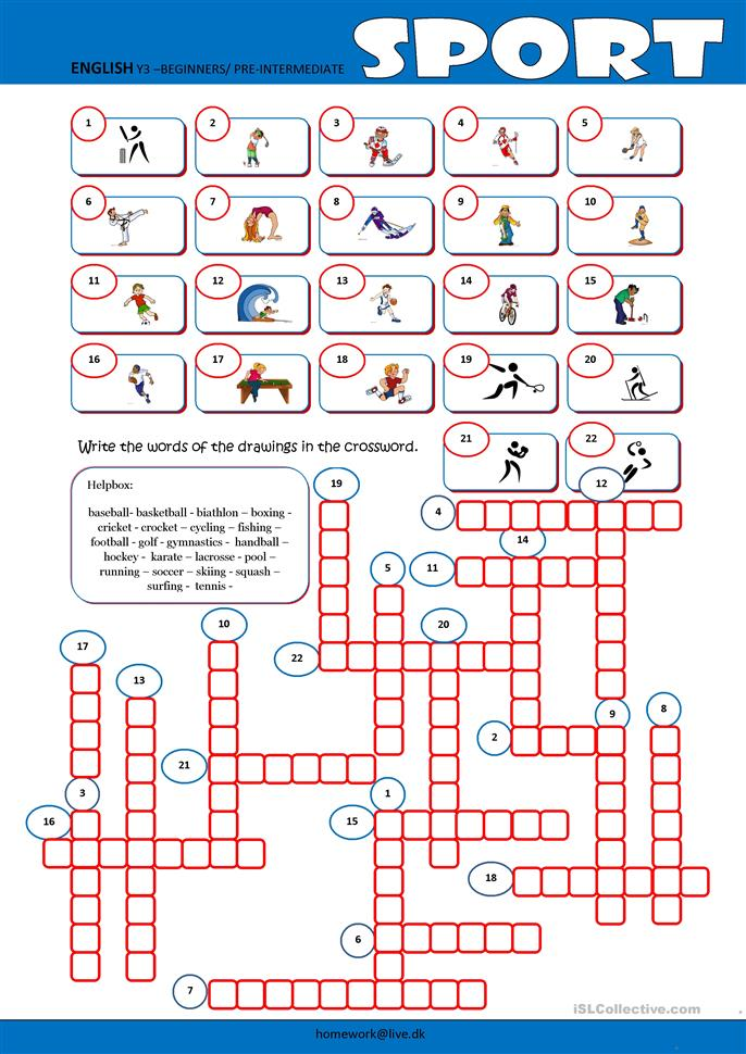 Sport Crossword - ESL worksheets