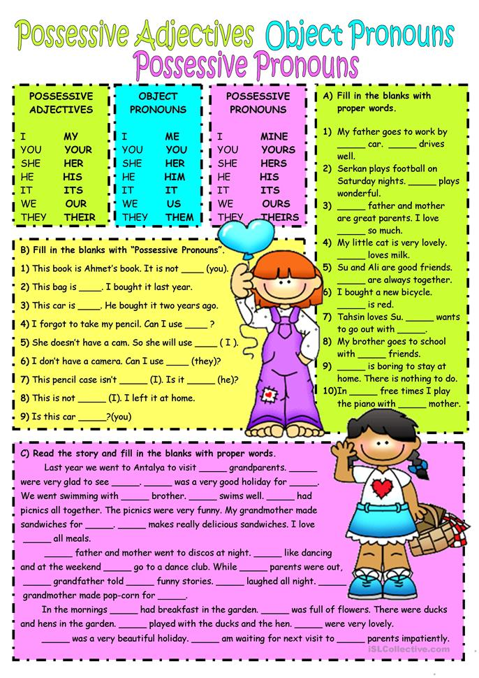 Subject&object pronouns-Possessive adjectives - ESL worksheets