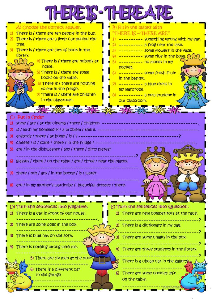 THERE IS & THERE ARE - ESL worksheets