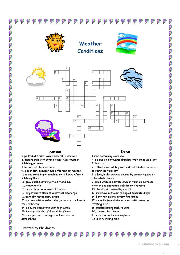 8 free esl weather conditions worksheets. Black Bedroom Furniture Sets. Home Design Ideas
