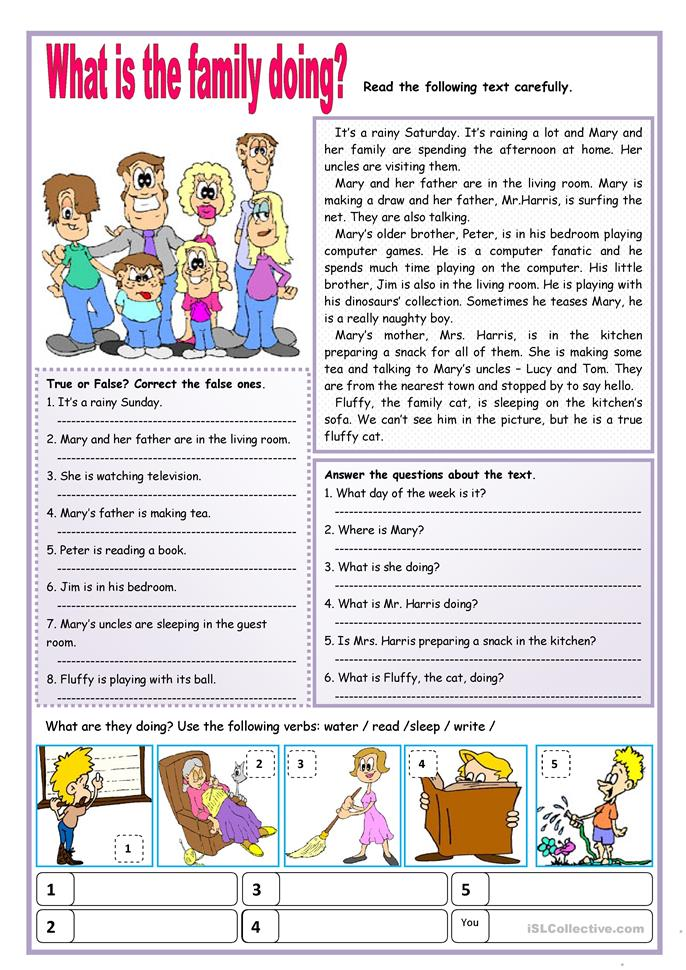 What is the family doing?  - ESL worksheets