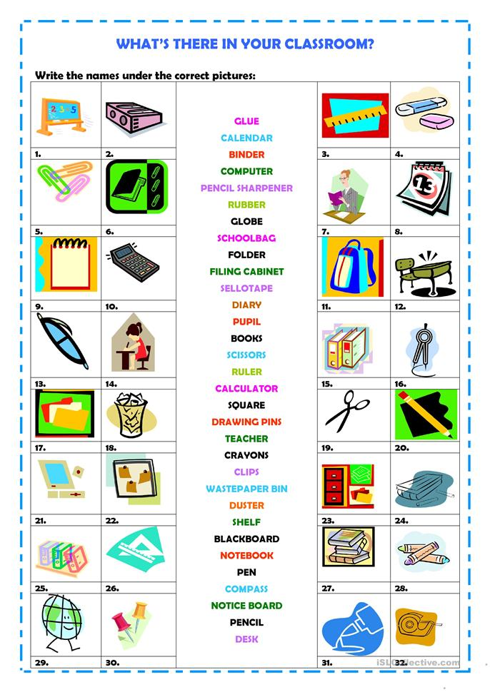 What 39 S There In Your Classroom Worksheet Free Esl