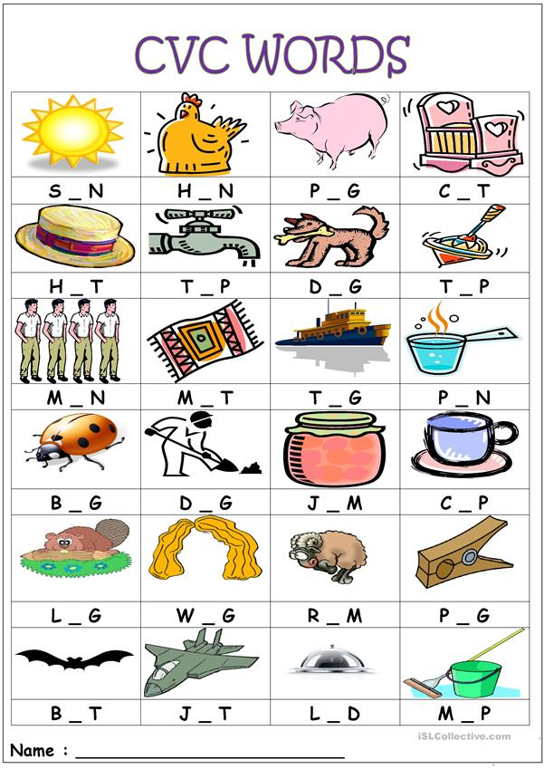Stupendous image with free printable cvc worksheets