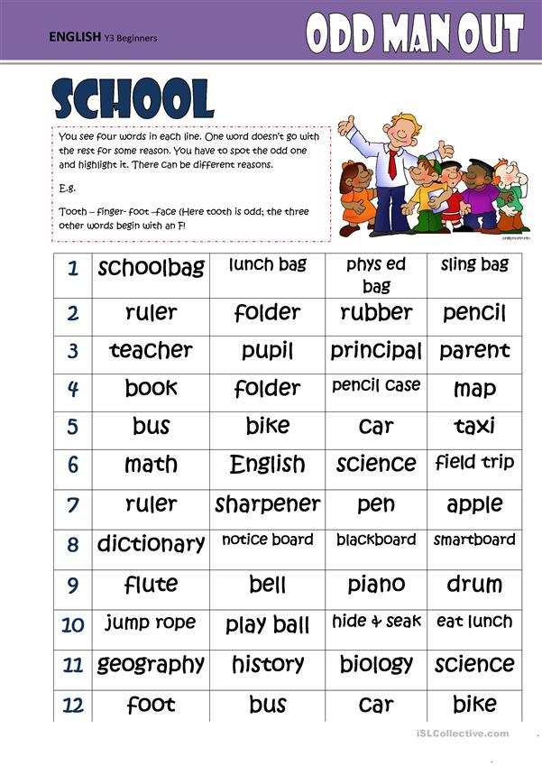 Odd One Out  SCHOOL   English ESL Worksheets for distance ...