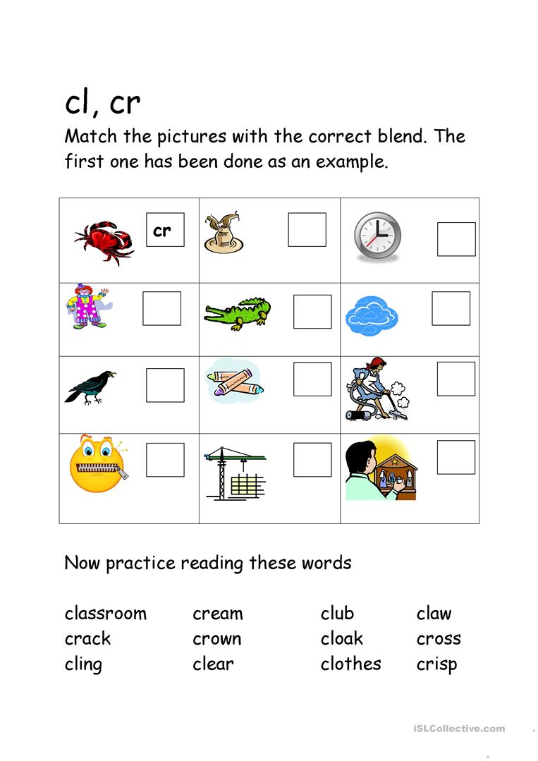 Worksheets Blends Worksheets 24 free esl blends worksheets cl cr