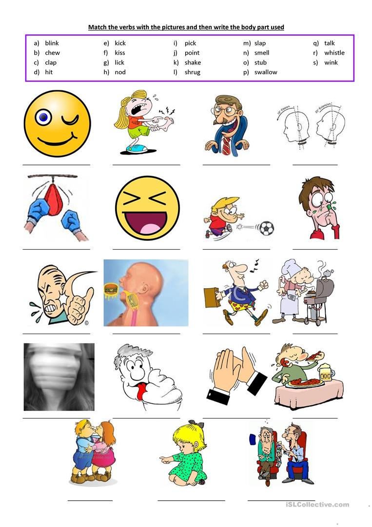 Body Parts Used as Verbs