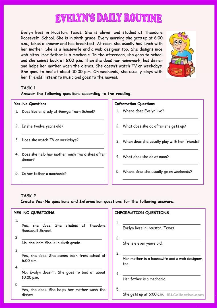 EVELYN'S DAILY ROUTINE - English ESL Worksheets