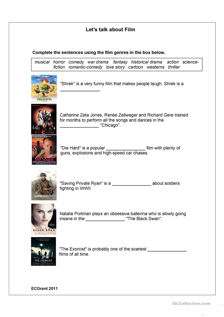 Worksheets Genre Worksheets 28 free esl genre worksheets film genres