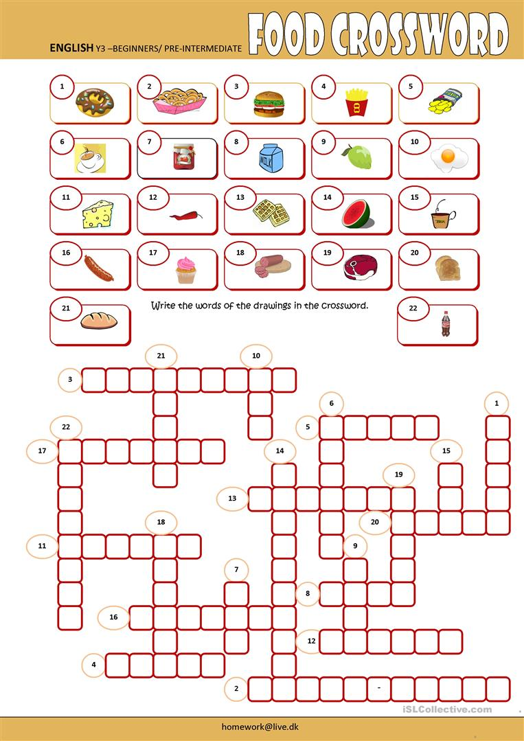Printable Crossword Worksheets : Food crossword worksheet free esl printable worksheets